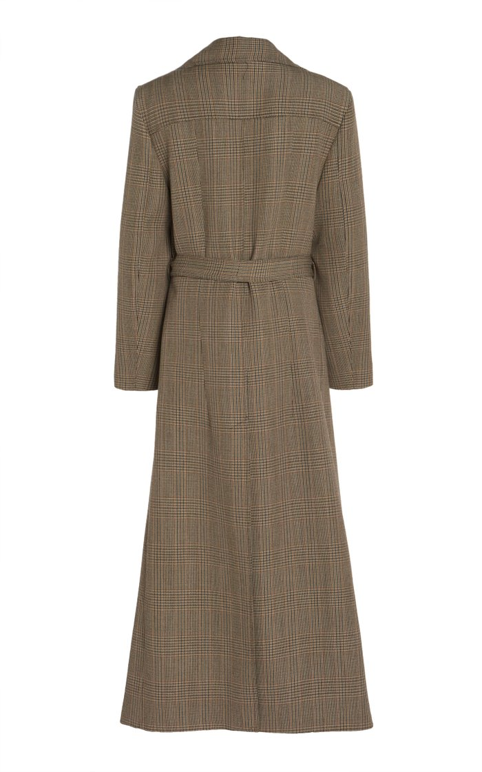 Belted Layered Checked Wool Coat