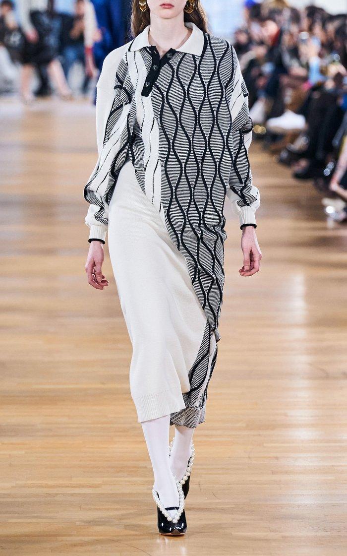 Twisted Wool-Blend Argyle Midi Sweater Dress