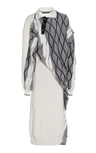 Twisted Wool-Blend Argyle Midi Sweater Dress
