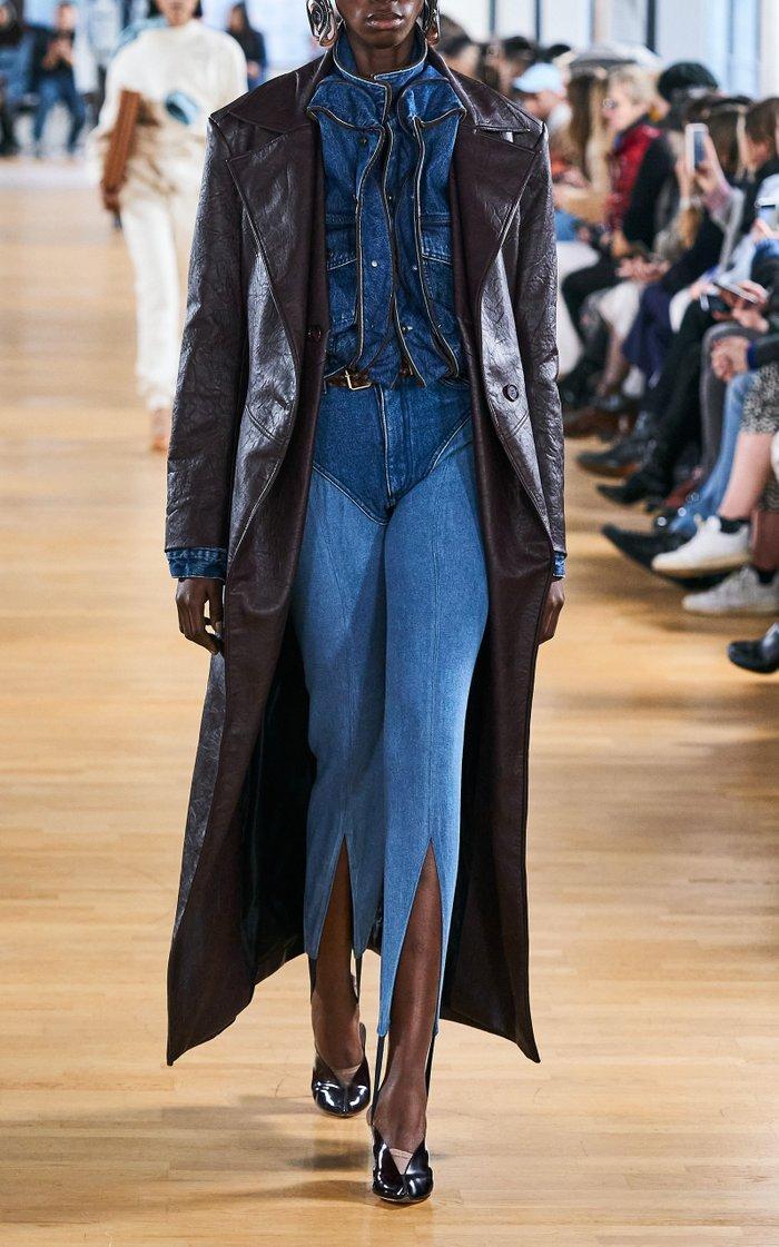 Pop-Up Ruffled Denim Cropped Jacket