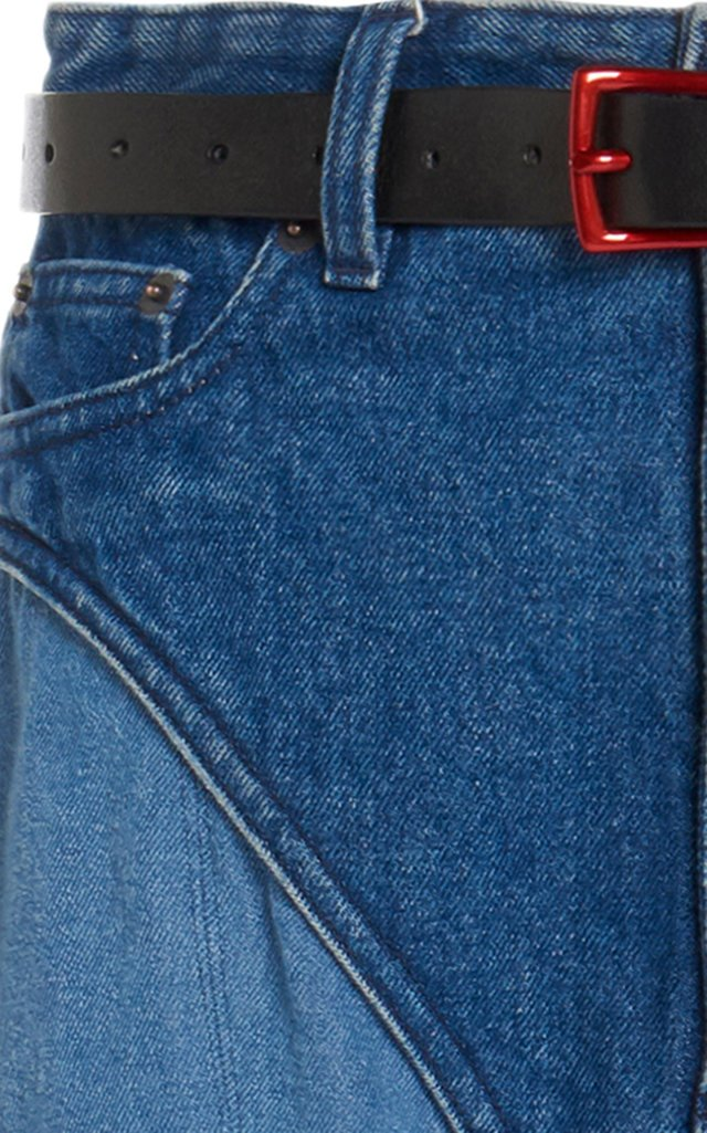 Belted Two-Tone Denim Stirrup Pants