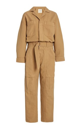 Willa Belted Cotton Utility Jumpsuit