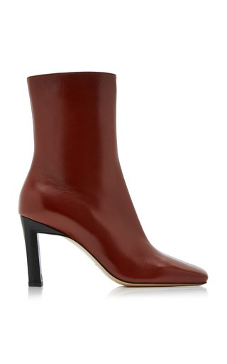 Isa Two-Tone Leather Ankle Boots