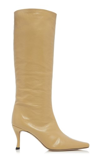 Stevie Creased Patent Leather Knee Boots