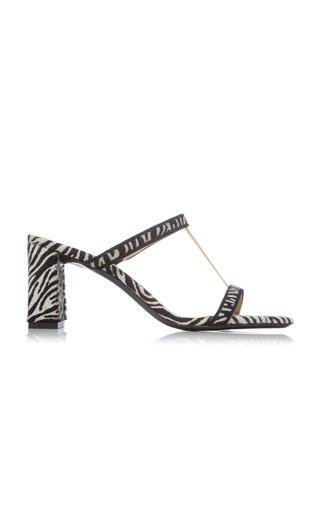 Chloe Zebra-Print Pony Hair Leather Sandals