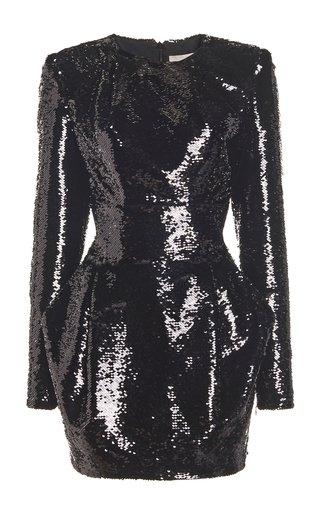 Sequined Draped Mini Dress