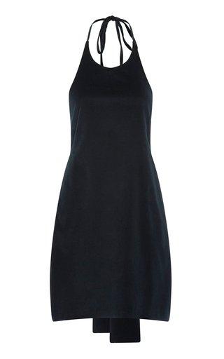 Wright Cotton-Blend Velvet Mini Halter Dress