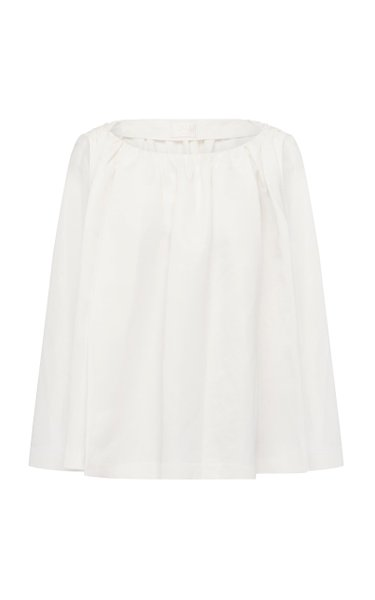 Ines Pleated Silk-Cotton Top