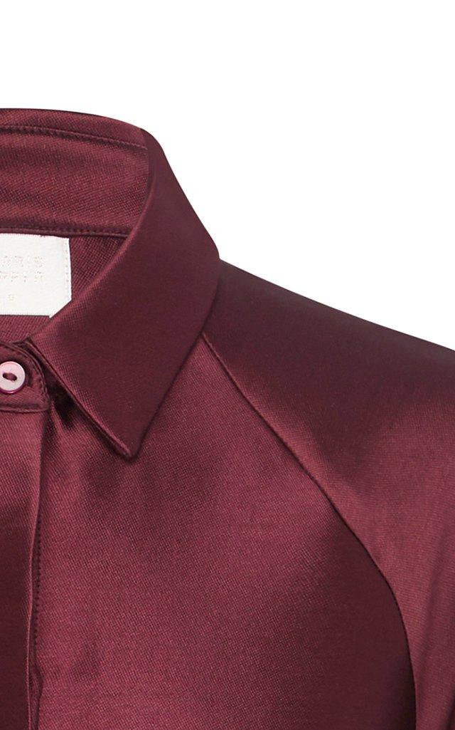 Wes Bishop-Sleeve Belted Satin Shirt