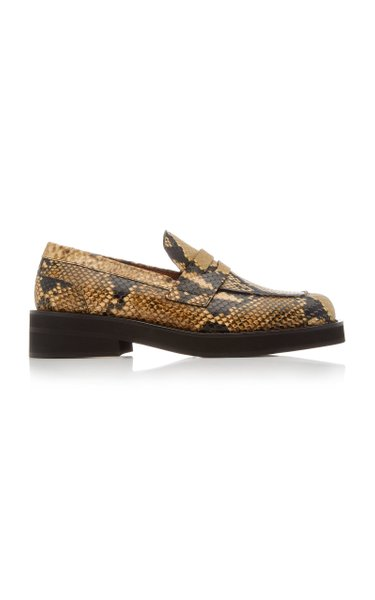 Python-Effect Leather Loafers