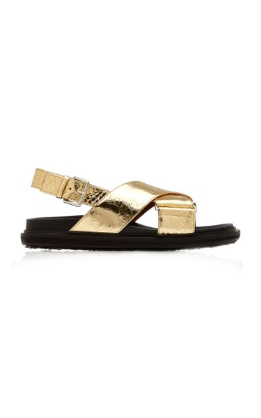 Fussbett Croc-Effect Metallic Leather Sandals