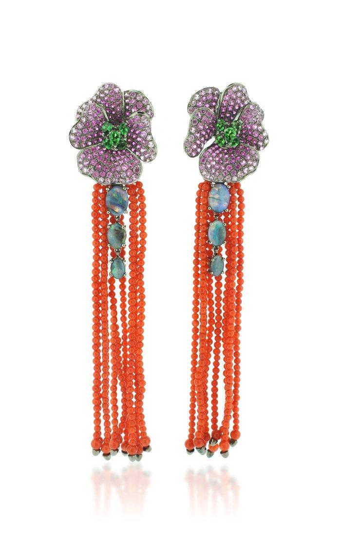 18K White Gold Coral Tassel Earrings