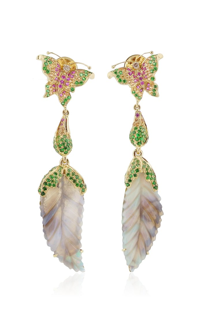 18K Rose Gold, Opal, and Pink Sapphire Earrings