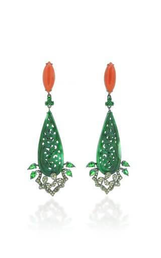 18K Green Jade and Coral Earrings