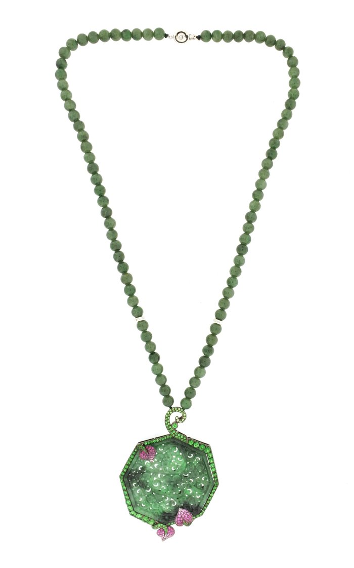 18K White Gold and Green Jade Necklace