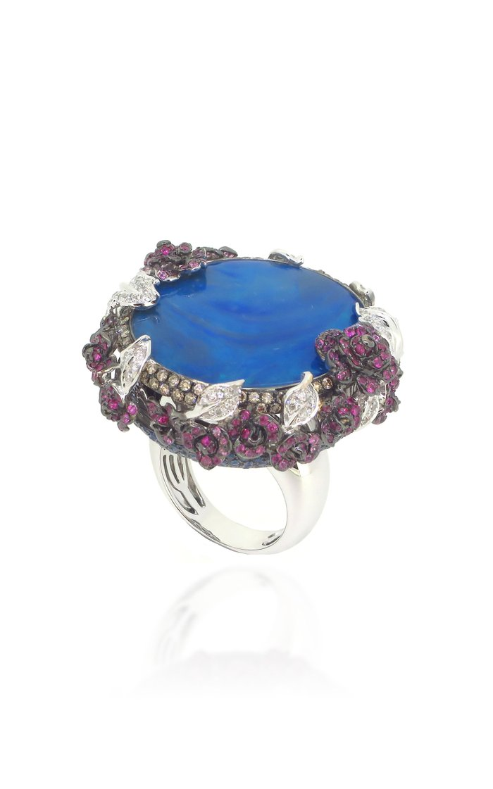 18K White Gold, Opal, and Pink Sapphire Ring