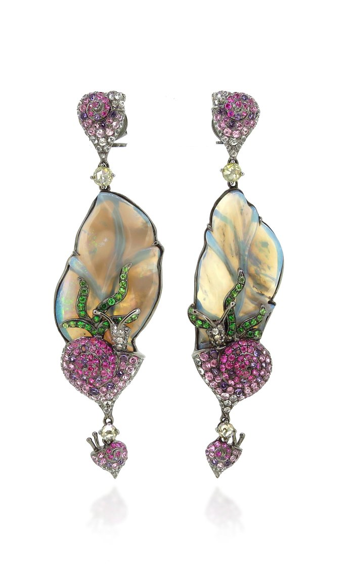 18K White Gold, Opal, and White Sapphire Earrings