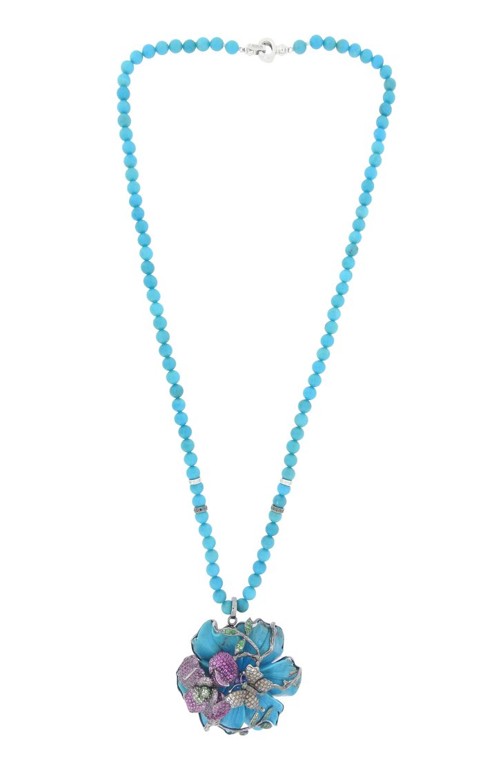 18K White Gold, Turquoise, and Champagne Diamond Necklace