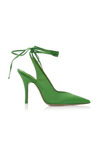 Satin Ankle-Wrap Pumps