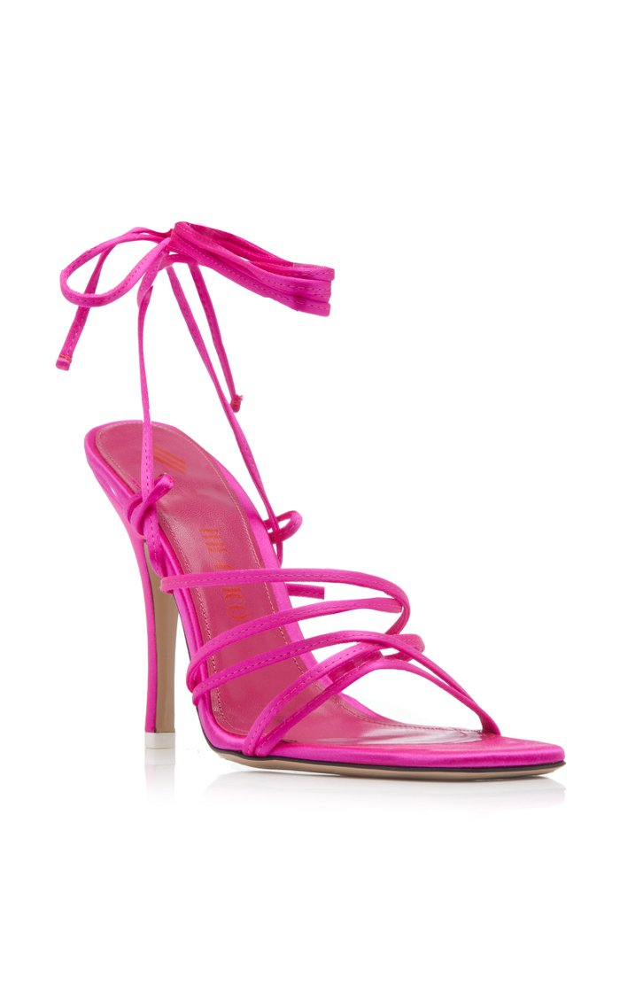 Strappy Satin Lace-Up Sandals
