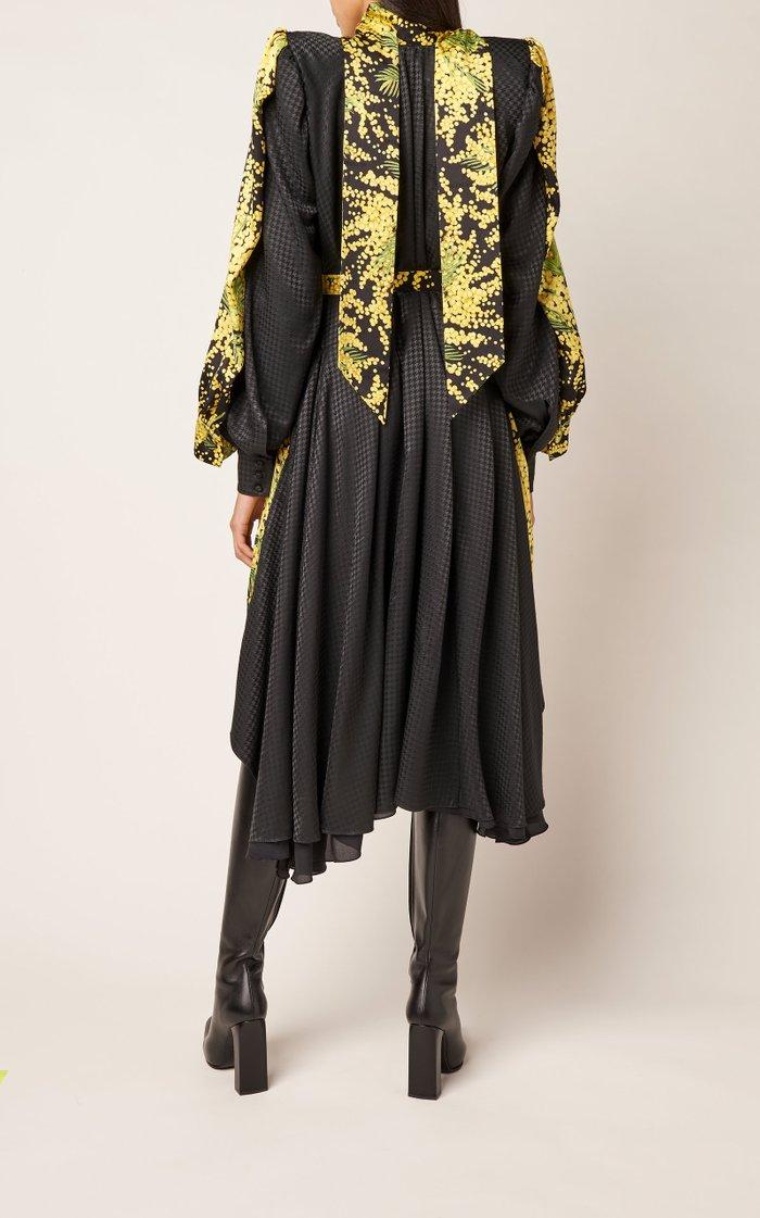 Layered Silk Jacquard Tie-Neck Midi Dress
