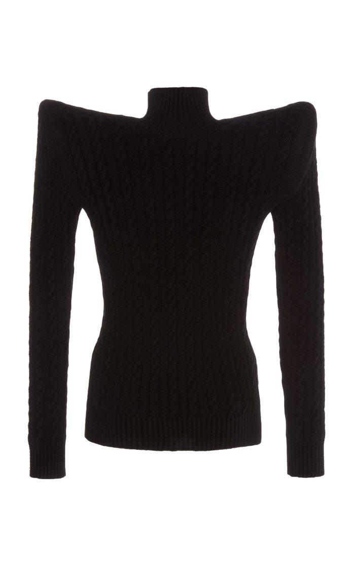 Bold-Shoulder Cable-Knit Velvet Turtleneck Sweater