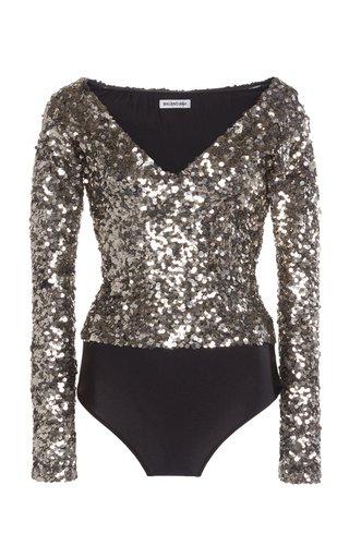 Sequined Jersey Off-The-Shoulder Bodysuit