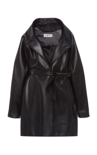 Oversized Leather Wrap Jacket