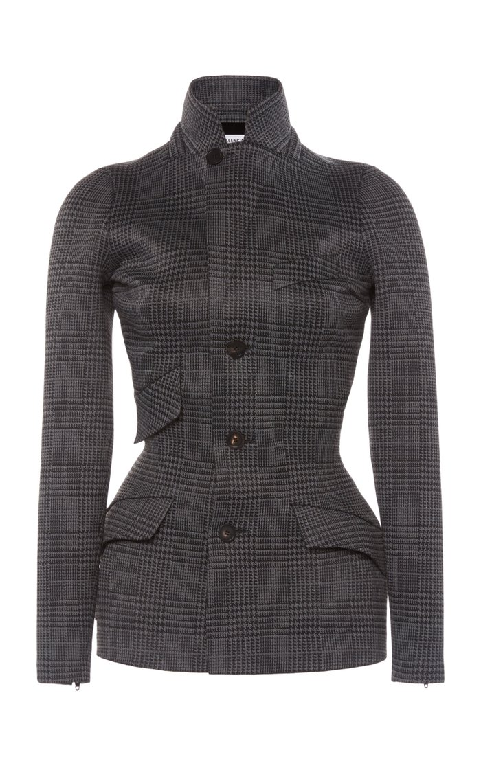 Waist-Trainer Prince of Wales Checked Jersey Blazer
