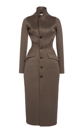 Waist-Trainer Houndstooth Checked Jacquard Jersey Coat