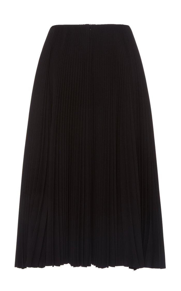 Plissé Crepe Midi Skirt