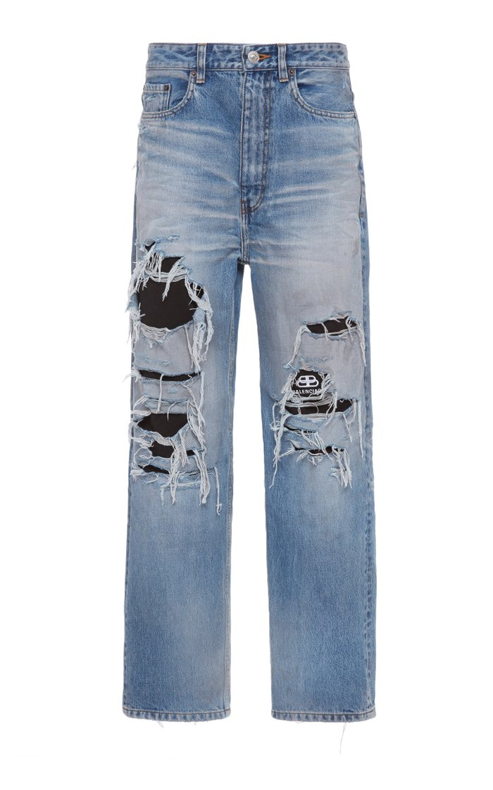 Distressed Organic High-Rise Straight-Leg Jeans
