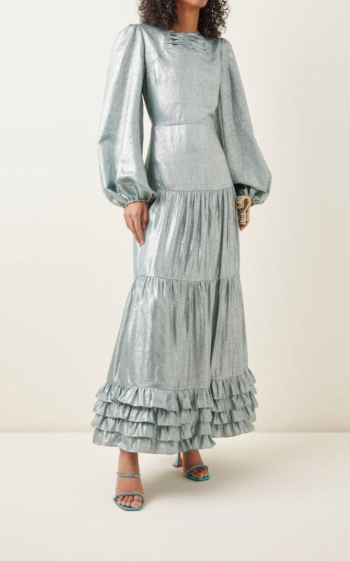 Lucine Tiered Lamé Midi Dress