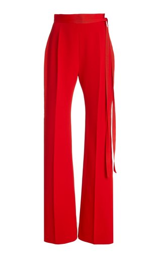 David Belted Crepe High-Rise Bootcut Trousers