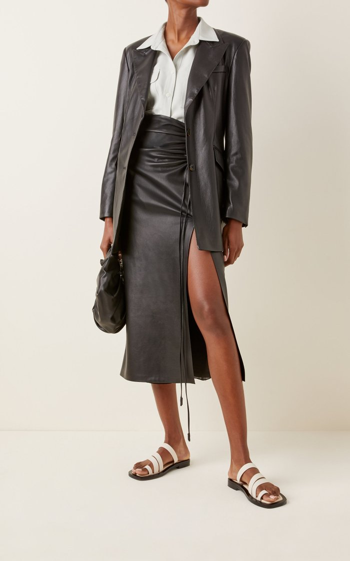 Cancun Vegan Leather Double-Pocket Blazer