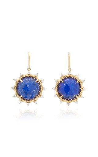 Sunburst 14K Yellow Gold Lapis and Diamond Earrings