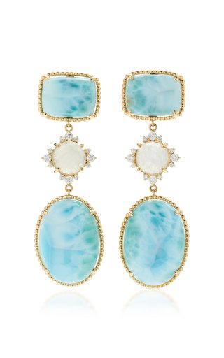 14K Yellow Gold Larimar, Moonstone and Diamond Earrings