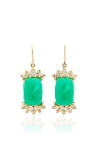 Fringe 14K Yellow Gold Chrysoprase and Diamond Earrings