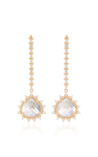18K Rose Gold Moonstone and Diamond Earrings