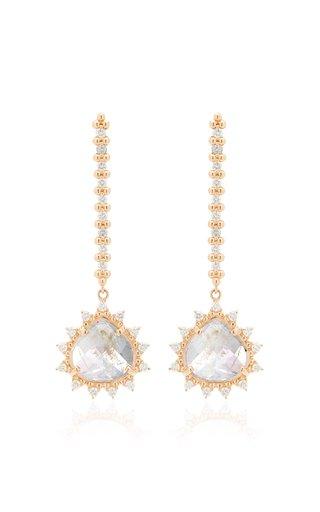 18K Rose Gold Moonstone and Diamond Earrings