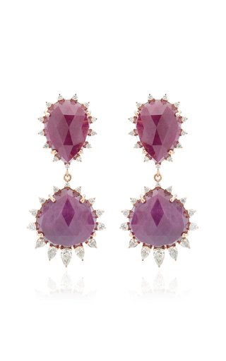 Halo 18K Rose Gold Ruby and Diamond Earrings