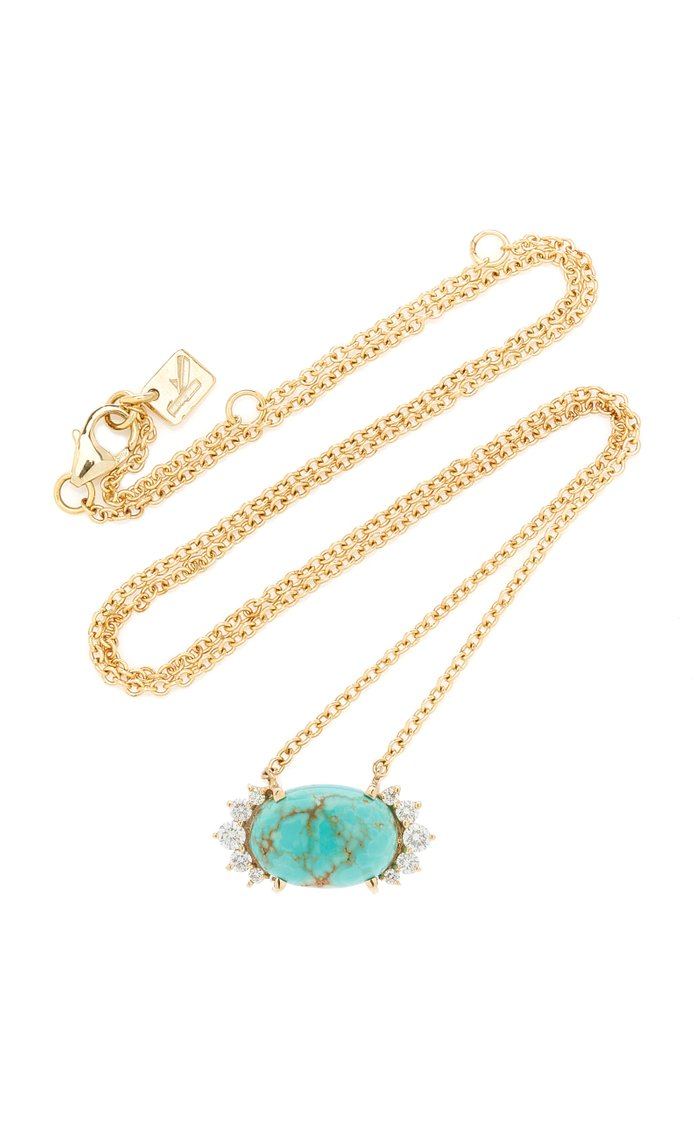 14K Yellow Gold Turquoise and Diamond Necklace