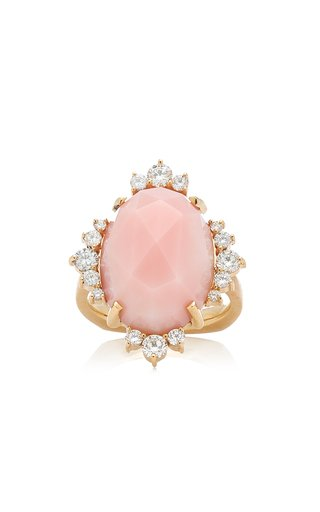 Halo 14K Yellow Gold Opal and Diamond Ring