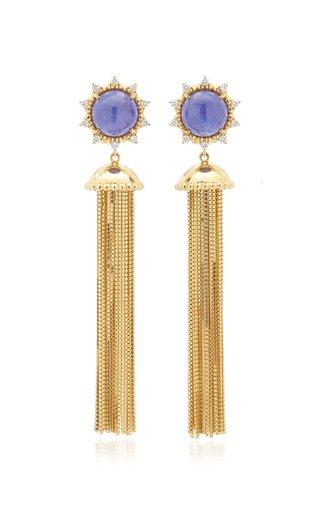 Sunburst 18K Yellow Gold Tanzanite And Diamond Tassel Earrings