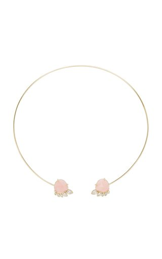 Fringe 14K Yellow Gold Opal and Diamond Cuff Necklace