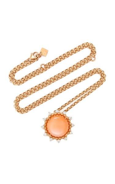 Sunburst 18K Rose Gold Moonstone and Diamond Necklace