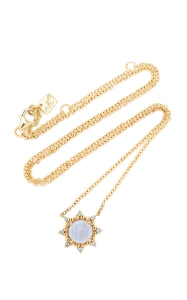 Sunburst 14K Yellow Gold Agate and Diamond Necklace