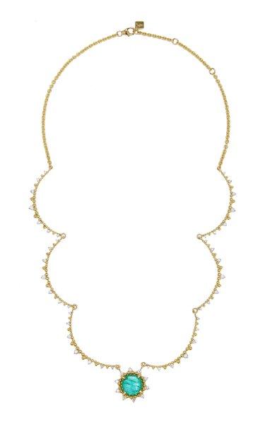 Sunburst 18K Yellow Gold Emerald and Diamond Necklace