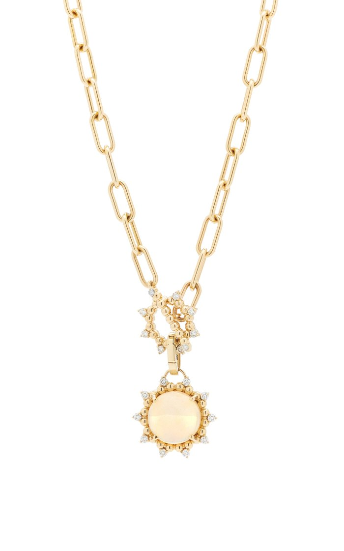 Sunburst 14K Yellow Gold Opal and Diamond Toggle Necklace