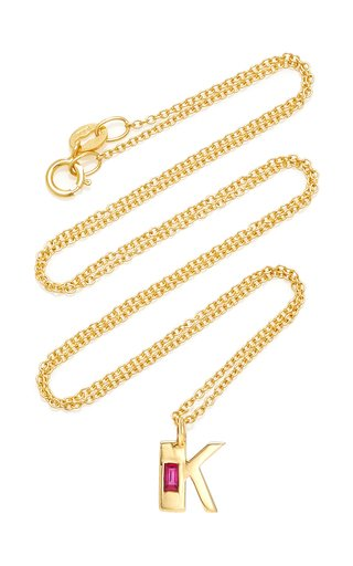 18K Yellow Gold Petite Ruby Deco Initial Necklace